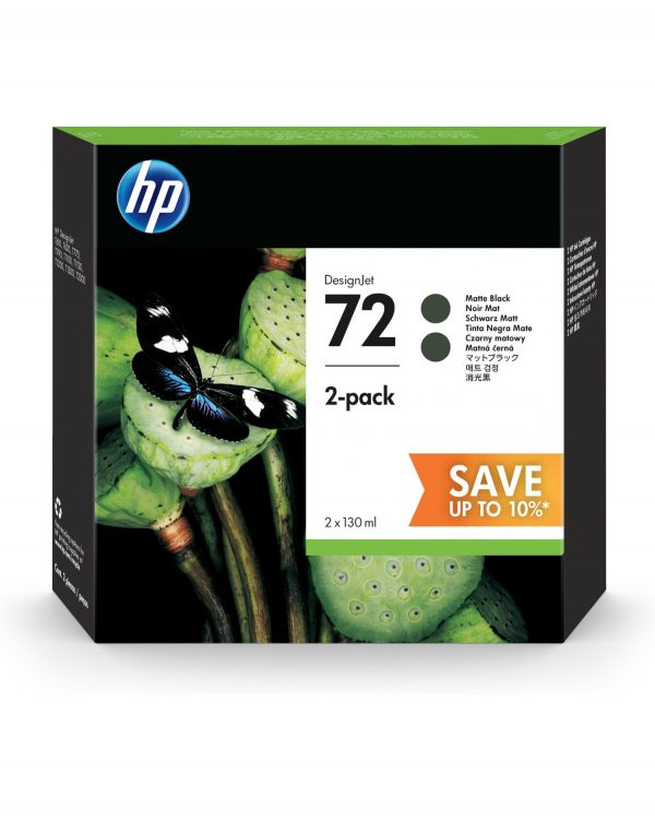 Hp 72 Ink Cartridge Matte Black 130ml x 2 P2v33a